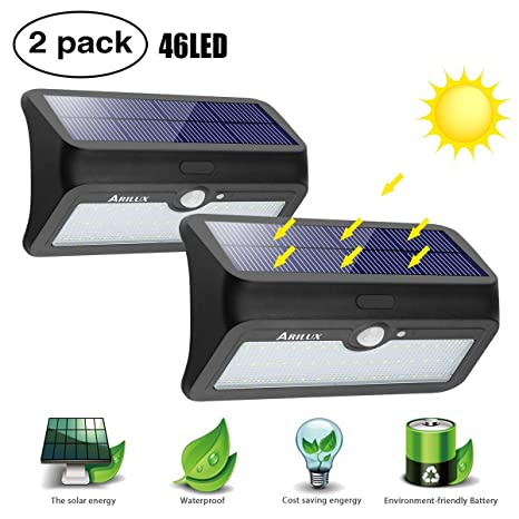 Luces LED Solar,Elfeland 46 LED Focos Solares Exterior Luces Solares con Sensor de Movimiento
