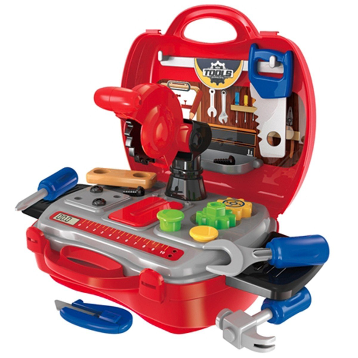 Toyshine DIY Portable Tool Set Toy with Briefcase, 19 Accessories