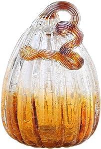 """New 8"""" Hand Blown Art Glass Crackle Pumpkin Sculpture Figurine Fall Harvest Smoke Amber"""
