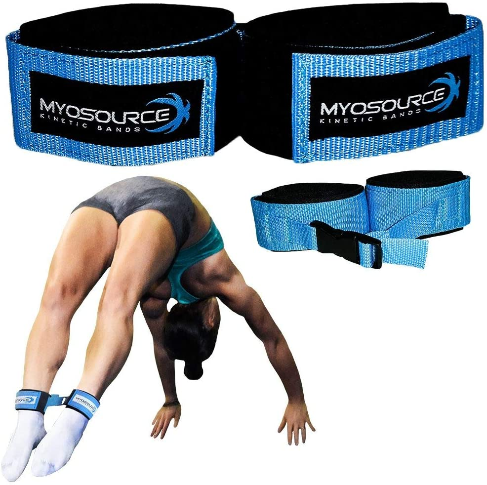 Myosource Kinetic Bands Tumble Pro X Ankle Straps – Cheerleading, Gymnastics Tumble Training Defrogger Keeps Ankles Together During Stunting and Back Tuck, Handspring Skills Training – Adjustable