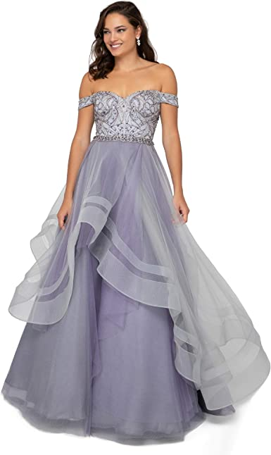 Amazon Com Terani Couture Whimsical Off Shoulder Layered Long Ball Gown Clothing