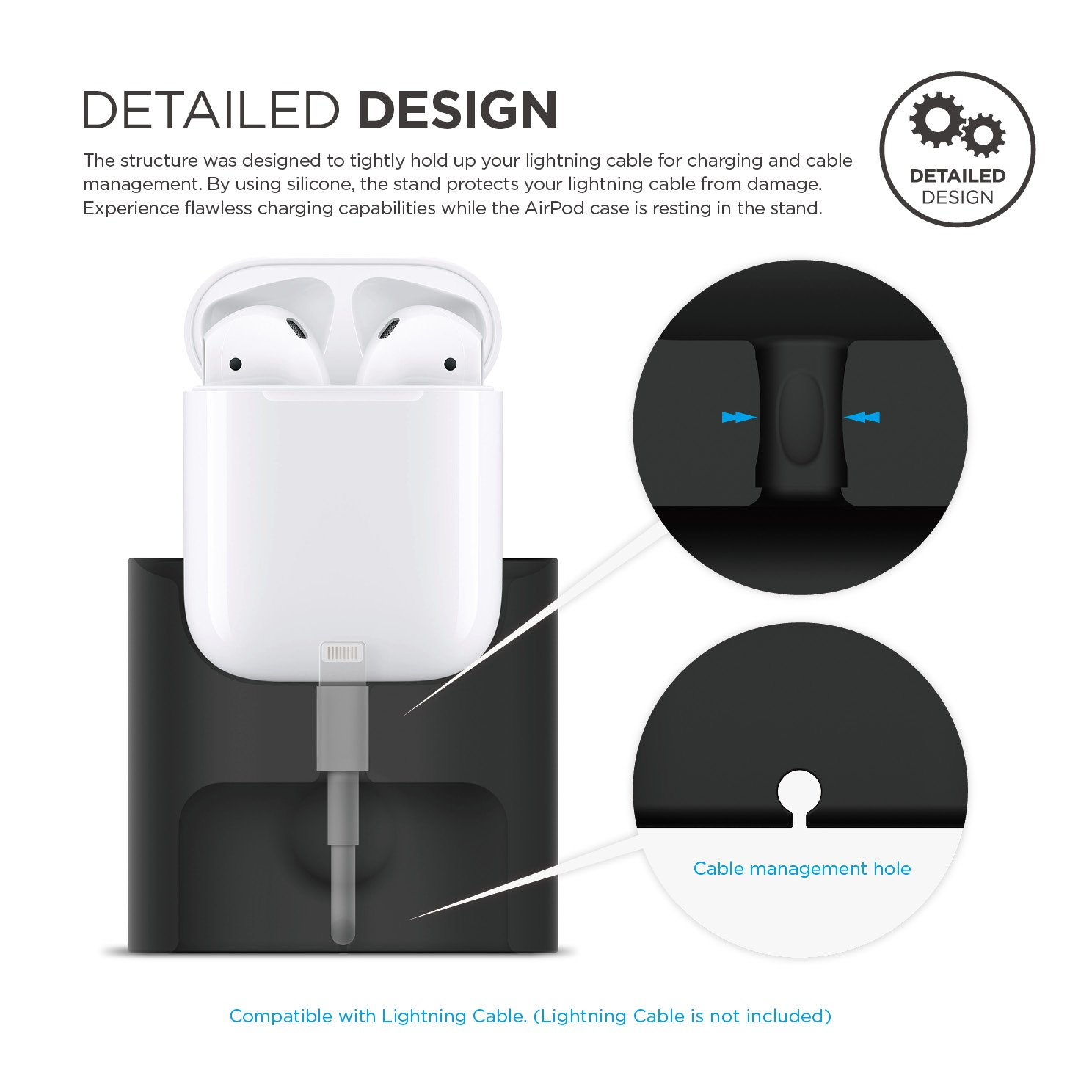 elago AirPods Stand [Black] - [Compatible with Apple AirPods