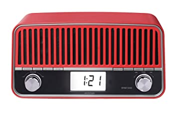 Sunstech RPRBT3500RD - Radio de sobremesa, con diseño retro (AM/FM, PLL, Bluetooth, altavoz, Aux-In, 6 W RMS) color rojo: Amazon.es: Electrónica