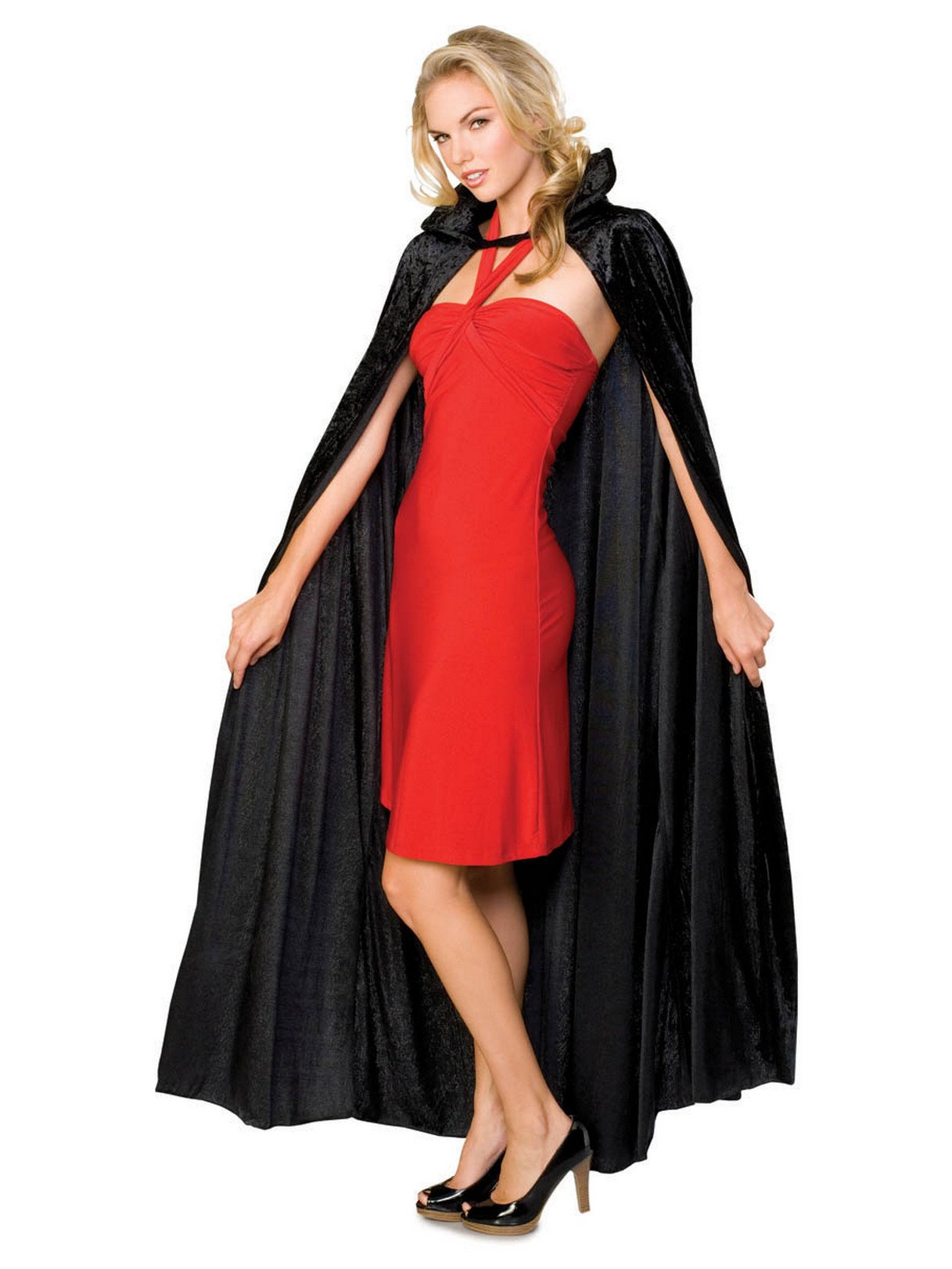 Rubie's Full Length Crushed Cape Costume, Black, One Size