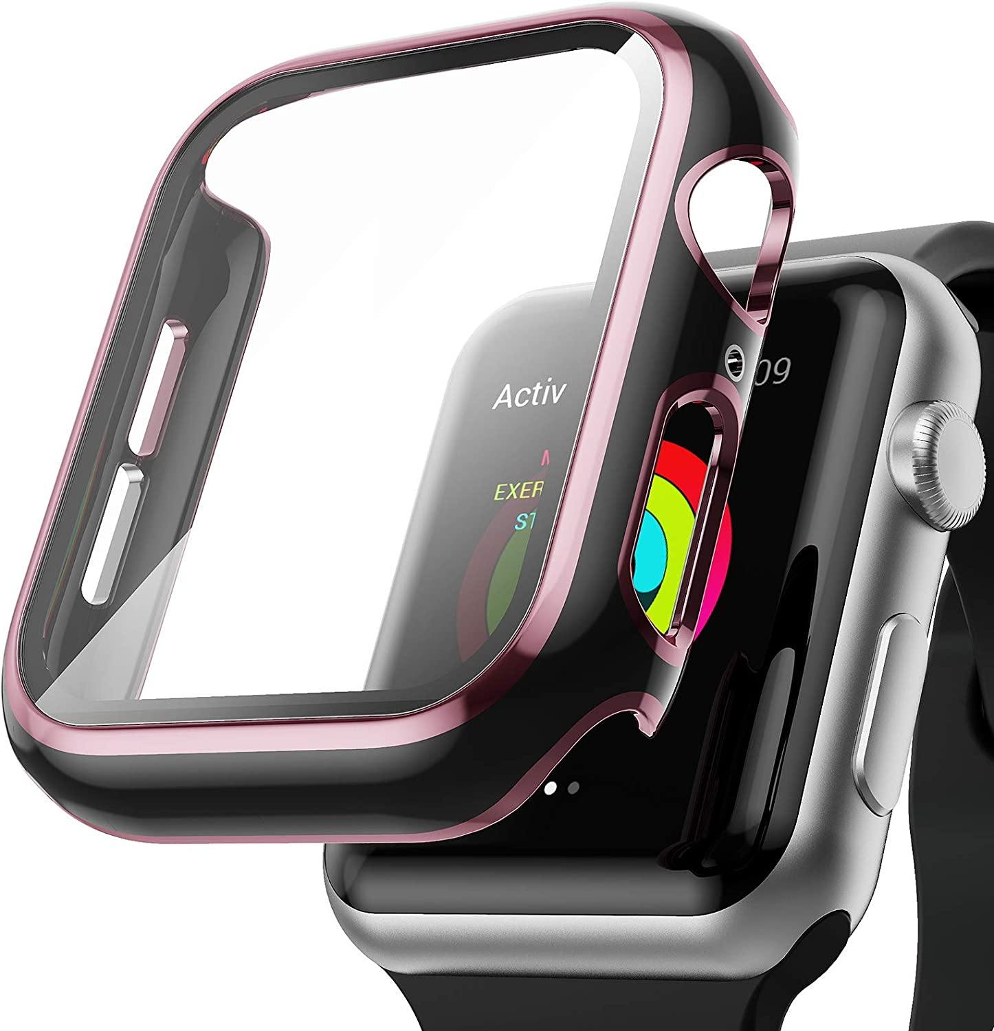 AISIBY Case Compatible with Apple Watch Series 3/2/1 42mm with Built-in Tempered Glass Screen Protector,Rose Pink Edge Black Bumper Full Coverage HD Clear Protective Film Cover for Women Men