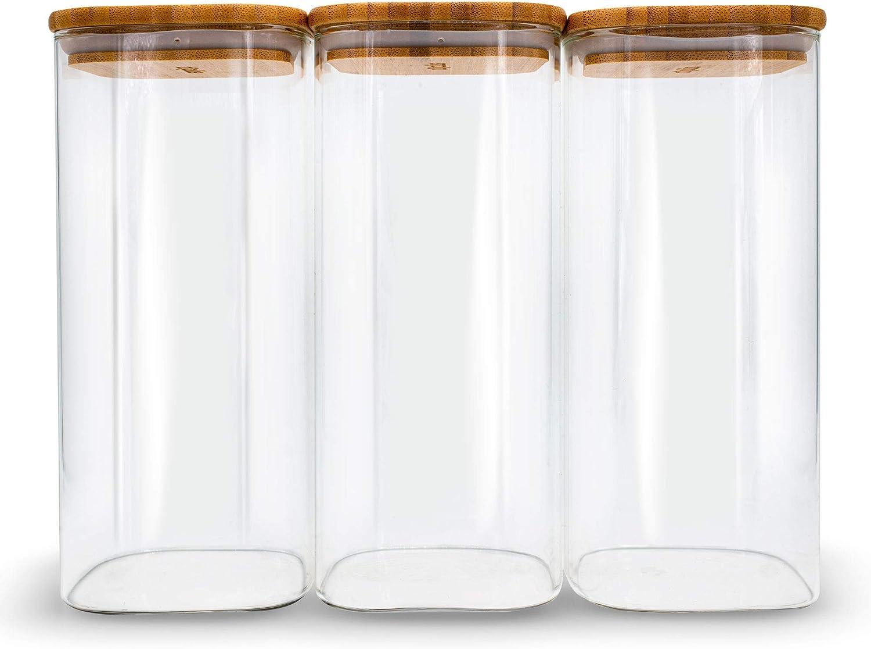 Molis® Vorratsglas   Eckiges, stabiles Vorratsglas mit Bambusdeckel   122 Kg  Mehl   122,12 Liter   große Vorratsdose   vielseitig einsetzbarer und ...