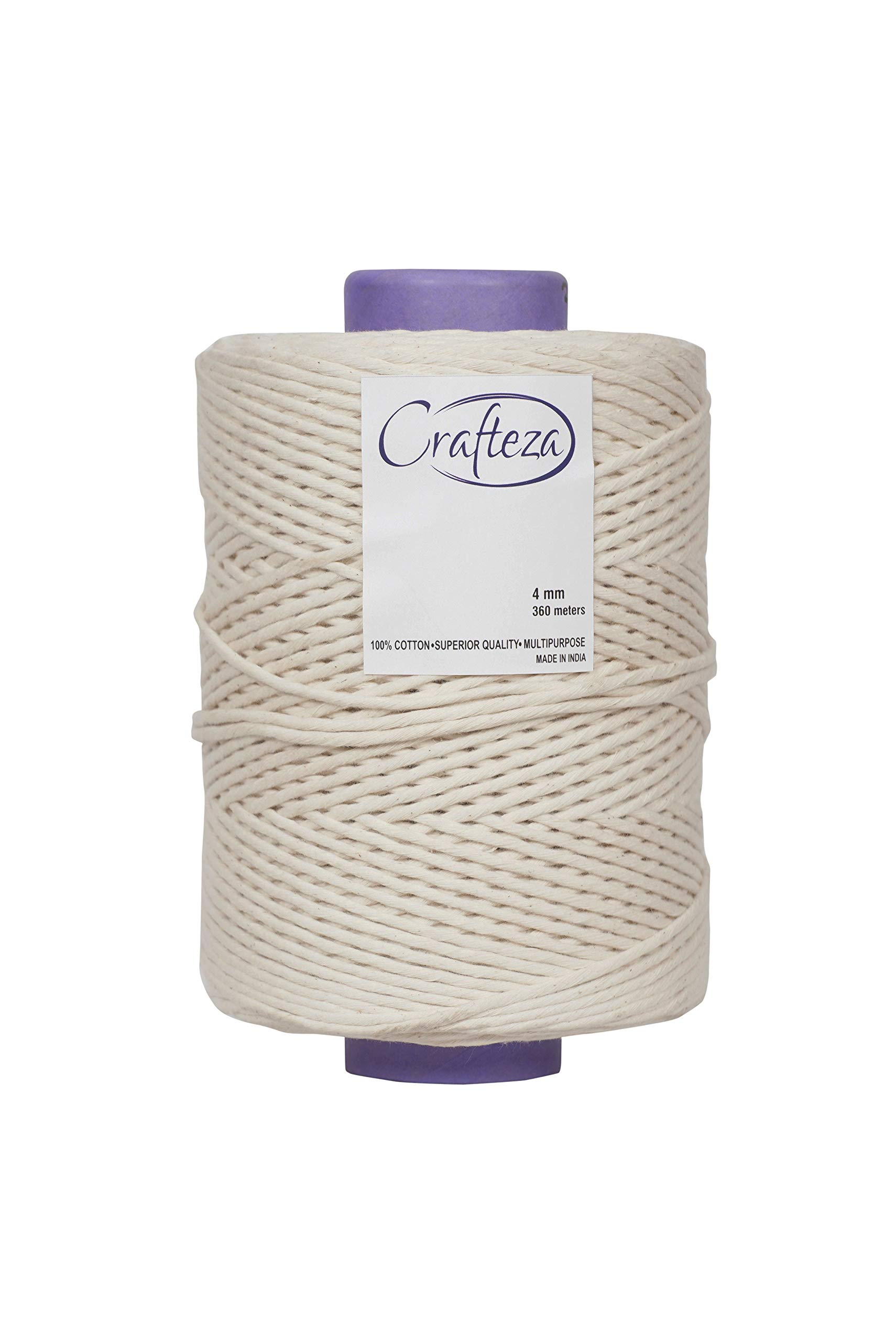 Crafteza Macrame Cord 4mm X 360 mt (About 1181 ft) Single Strand Bulk Knotting Rope - Natural Virgin Cotton Handmade Decorations Macrame Wall Hangings Plant Hanger Bohemian Wedding Backdrops Arches