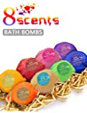 BMK Bath Bombs Gift Set Handmade Natural Organic Essential Oil Lush Spa Bomb Luxury Bath Fizzies Gift Ideas Kit for Women, Mom, Girls, Kids (Pack of 8)