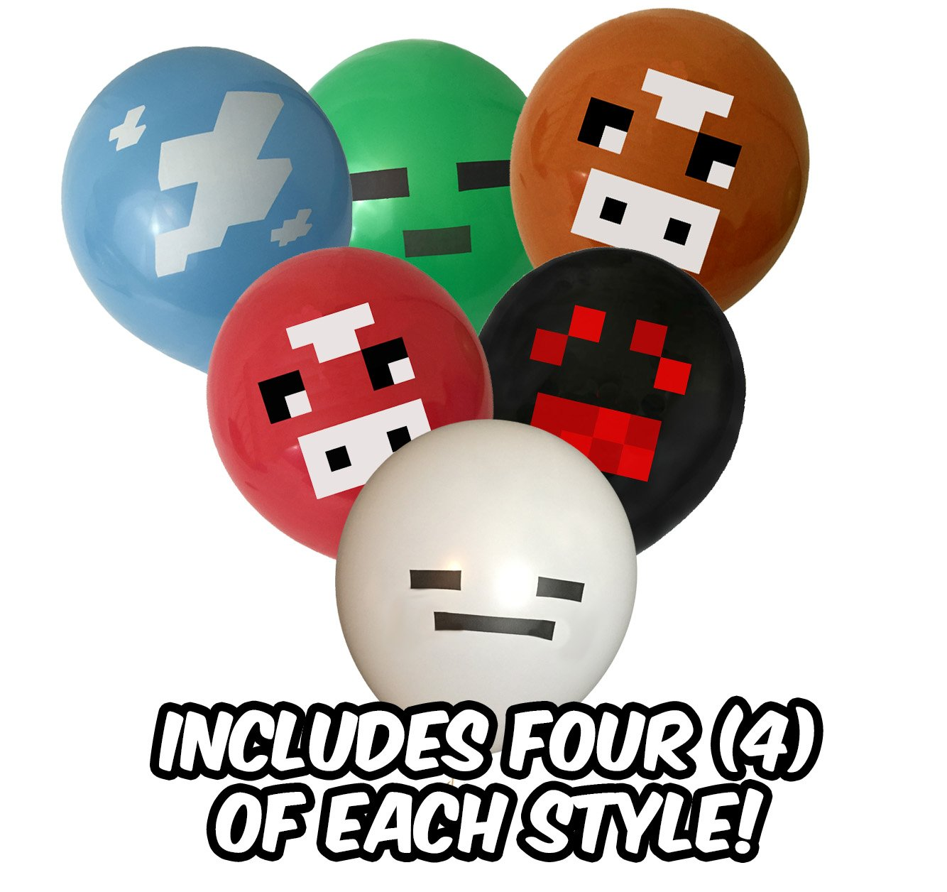 "Pixel Style Miner Party Balloon Pack (24 count) - Fun 12"" Latex Balloons - Includes Green Zombie Monster, Blue Cloud, Red Cow, White Chicken, White Ghost, Black Spider"