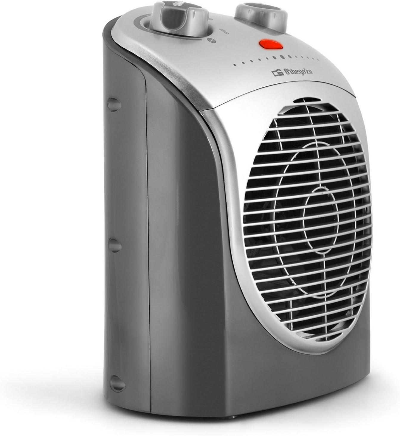une position de ventilation Thermoventilateur compact 2200 W thermostat FH 5021 Gris et argent deux positions de chaleur 1100 W et 2200 W Orbegozo FH 5021