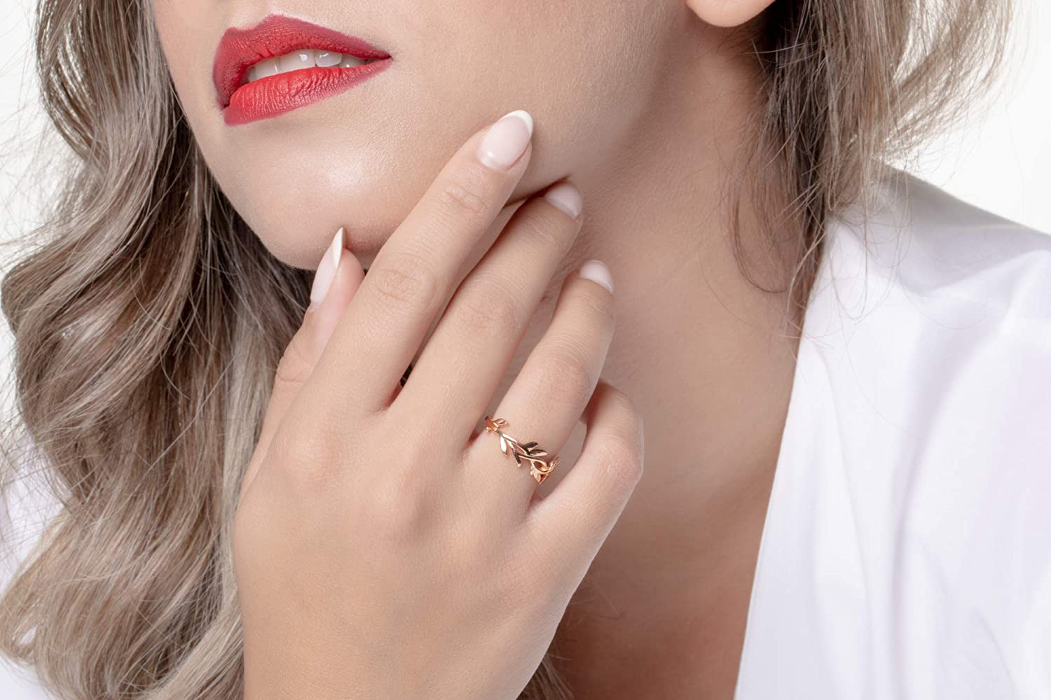 Unique gift for her 14k Gold branch with leaves ring olive leaves band /& 18k Elegant jewel box Women Olive tree leaves ring in solid Gold 9k Nature Leaf ring