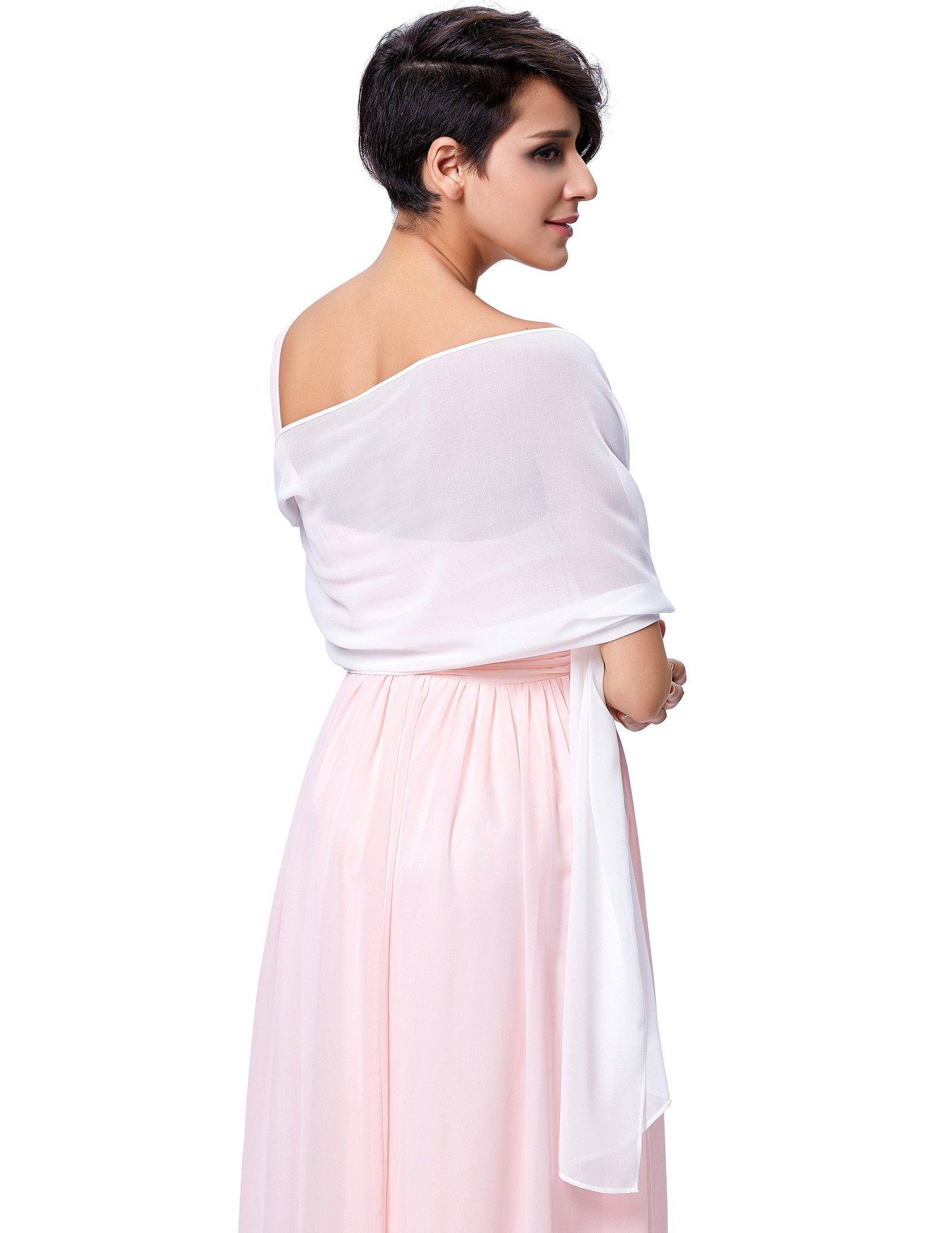 Wedding Soft Chiffon Evening Party Shawls Scarves for Women White KK229 by Kate Kasin (Image #2)
