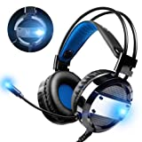 OneOdio Gaming Headset Stereo Over Ear PC Computer Gaming Headphones with Noise Canceling Mic Volume Control and LED Light, 3.5mm Jack for PC, Laptop, Mac, Smartphones and Tablet