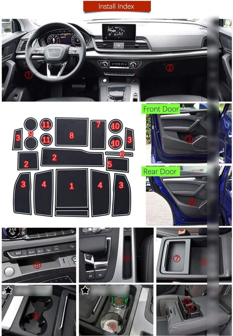 Color : Red Zxwzzz Anti-Rutsch-Gummi-Cup Kissen T/ür Groove-Matte for Audi Q5 II 2017-2019 FY Anti-Rutsch-Tor Slot Mat Gummideckel Zubeh/ör