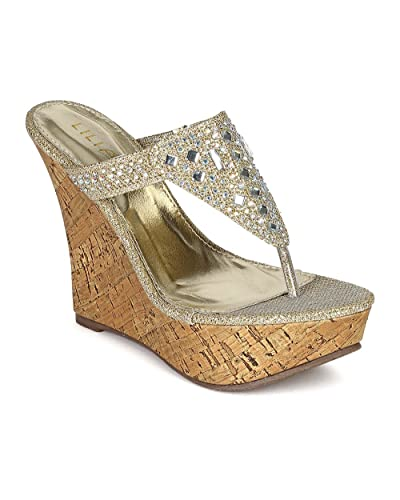 b44bfd6aaa Amazon.com | Liliana Women Glitter Leatherette Stone Decor Platform Thong  Cork Heel Wedge Sandal CC10 - Champagne (Size: 5.5) | Flip-Flops