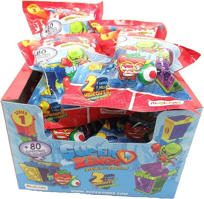 Magic Box SUPERZINGS Caja Completa 12 Sobres 2 Personajes Cada uno (1 héroe + 1 Enemigo) y 2 escondites (Hideout) Total Originales Rivals of Kaboom Serie 1: Amazon.es: Juguetes y juegos