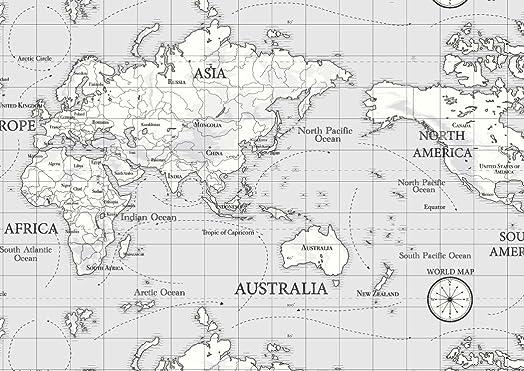 World atlas map on grey cotton curtain fabric 140cm x 1 metre world atlas map on grey cotton curtain fabric 140cm x 1 metre sciox Gallery