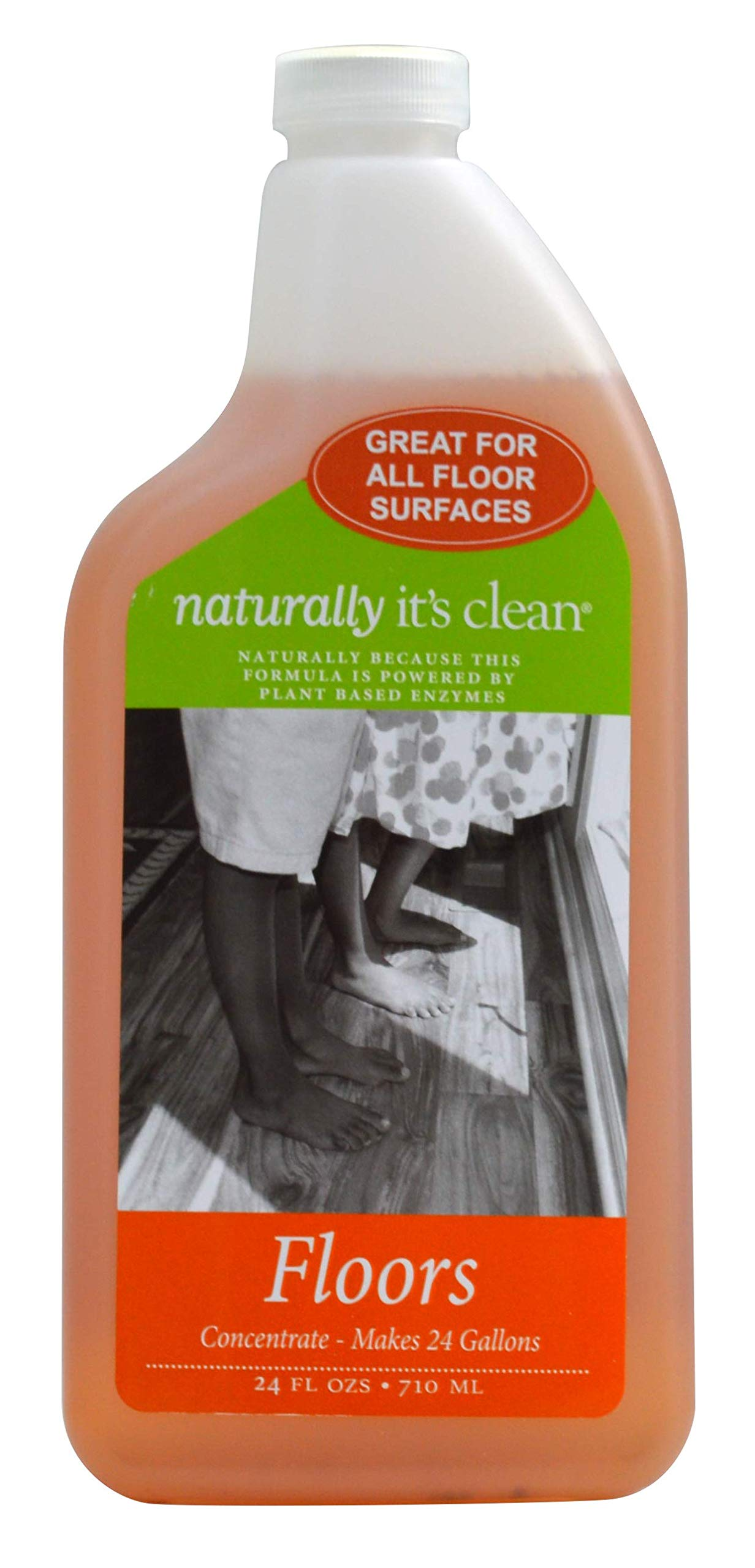Naturally It's Clean Floor Cleaner for All Floor Types (Plant Based Enzymes) pH Neutral, Biodegradable, Kids&Pets Safe; Rinse Free, Eliminates Odors ((6) 24oz Concentrate Bottles) by Naturally It's Clean