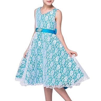 LA JINIRR Flower Girls V-Neck Lace Wedding Party Bridesmaid Princess Dress Blue Age 7