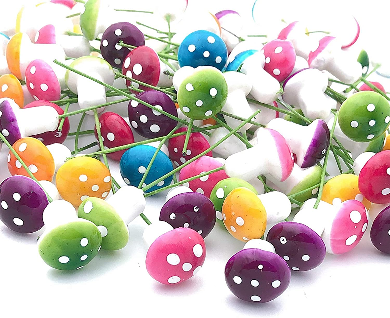 FANGULU 150PCS Mini Mushrooms Ornaments 1.8cm/0.71inch Colored Foam Mushrooms Miniature Figurines Suitable for Fairy Garden, Bedroom Decoration, Flower Pot, Potted Plant DIY Decoration
