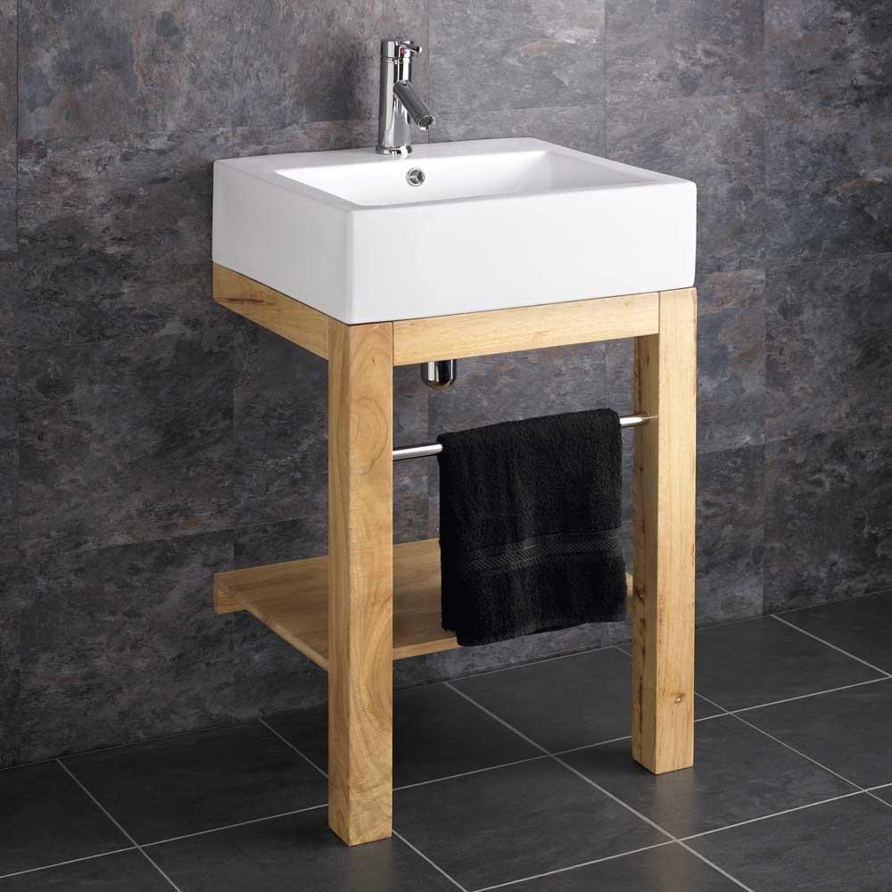 Verona Waschbecken Belfast Keramik, Holz, bodenstehend, mit Standfuß ...