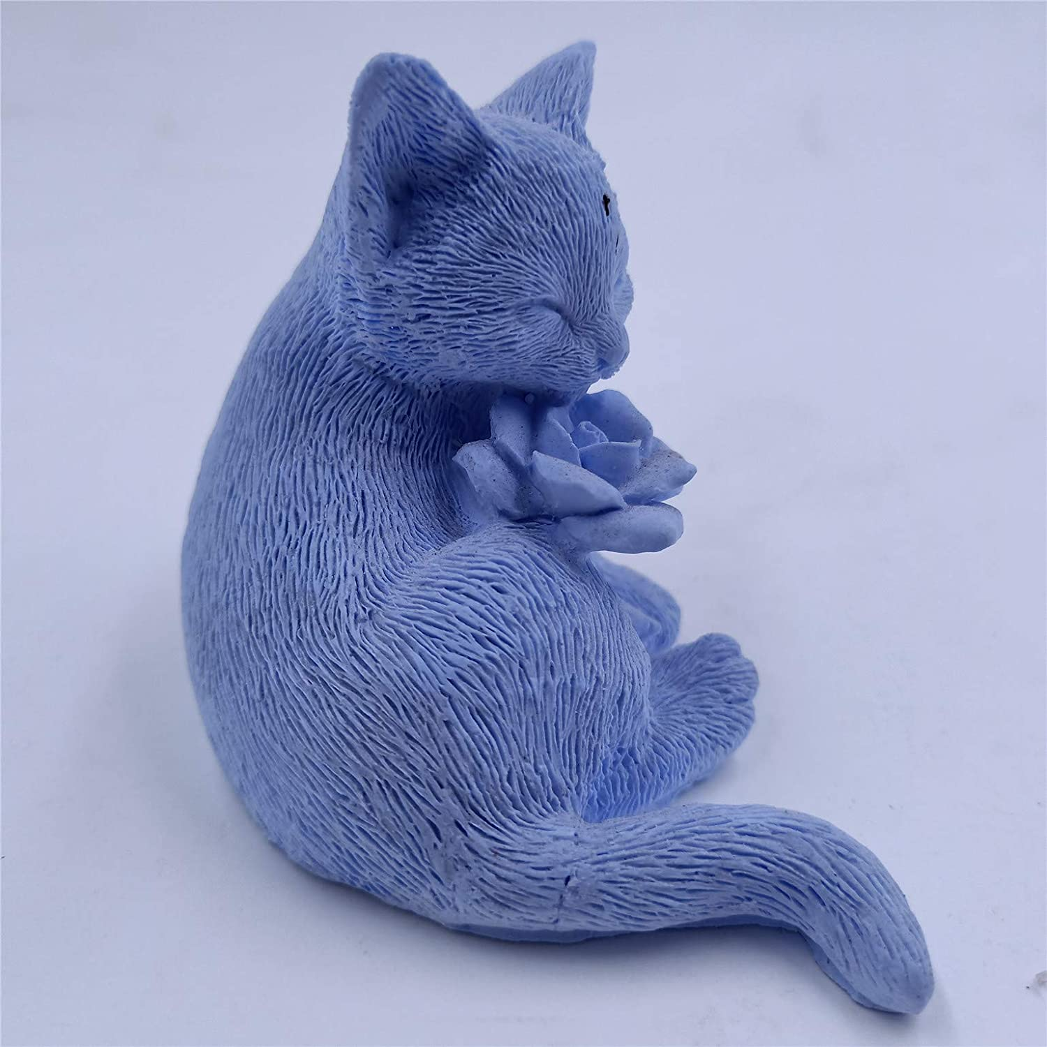 Great Mold Handcrafted 3D Cat Rose Soap Mold Silicone Candle Wax Resin Mould Handmade Silicone Mold Gypsum Molds