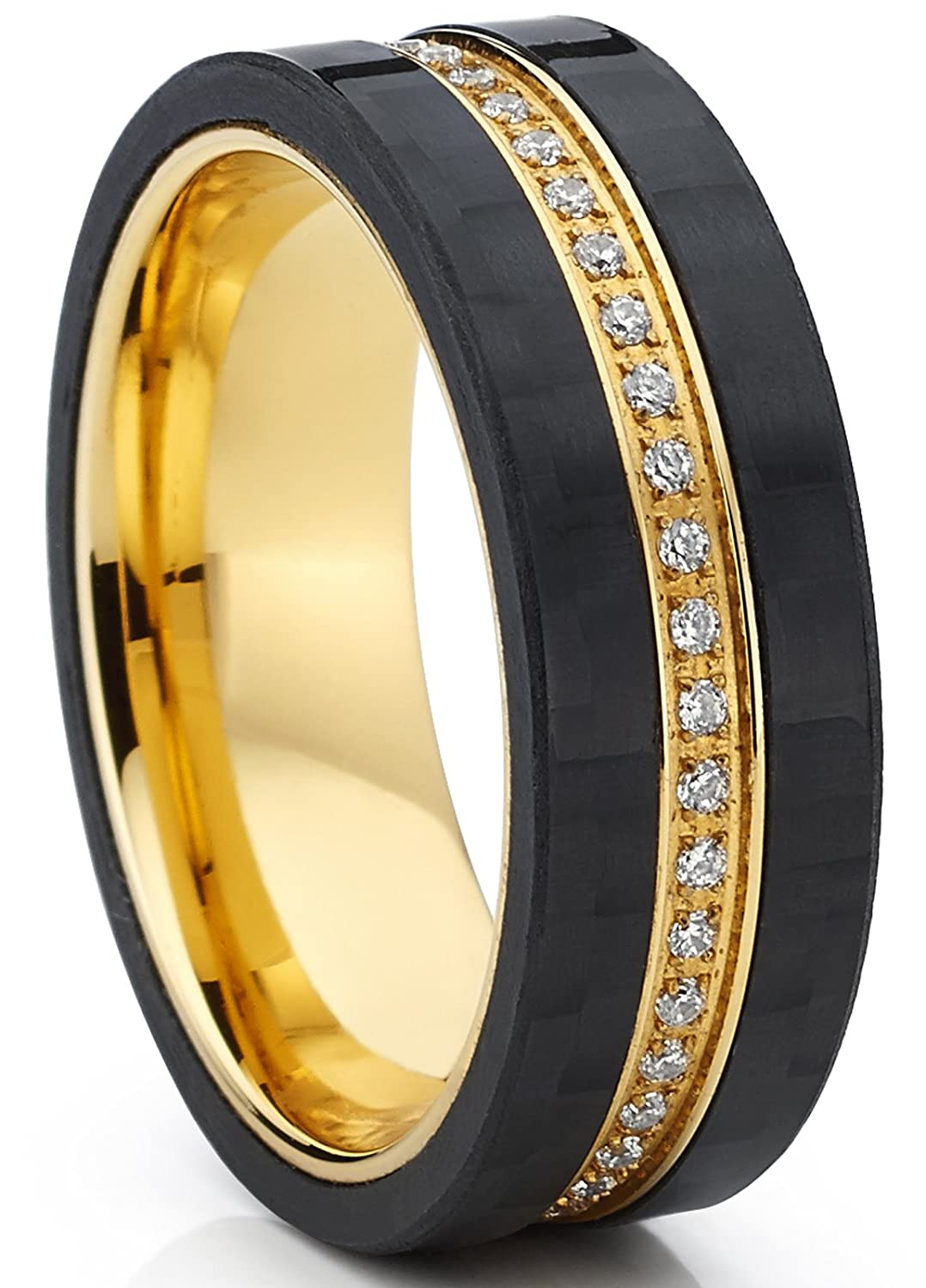 GoldTone Titanium Men's Eternity Wedding Band Ring with Cubic Zirconia CZ and Carbon Fiber Edges TIR-1295