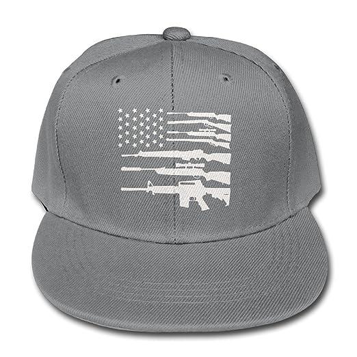 b86b2e16d HDRAY Kids USA Flag Gun-01 Unisex Plain Snapback Hip-Hop Hat Adjustable One  Size
