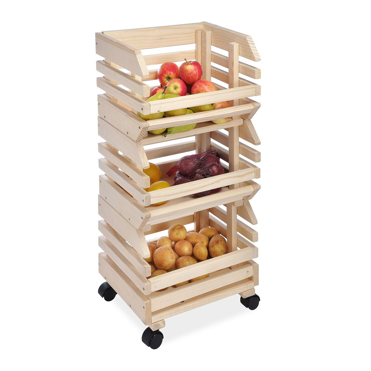 Kitchen Vegetable Storage Baskets: Kitchen Basket Storage Box Vegetable Fruit Wooden Rack 3