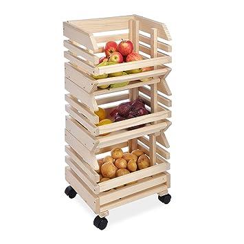 Carrito de cocina Con tres niveles Madera Carrito de almacenamiento