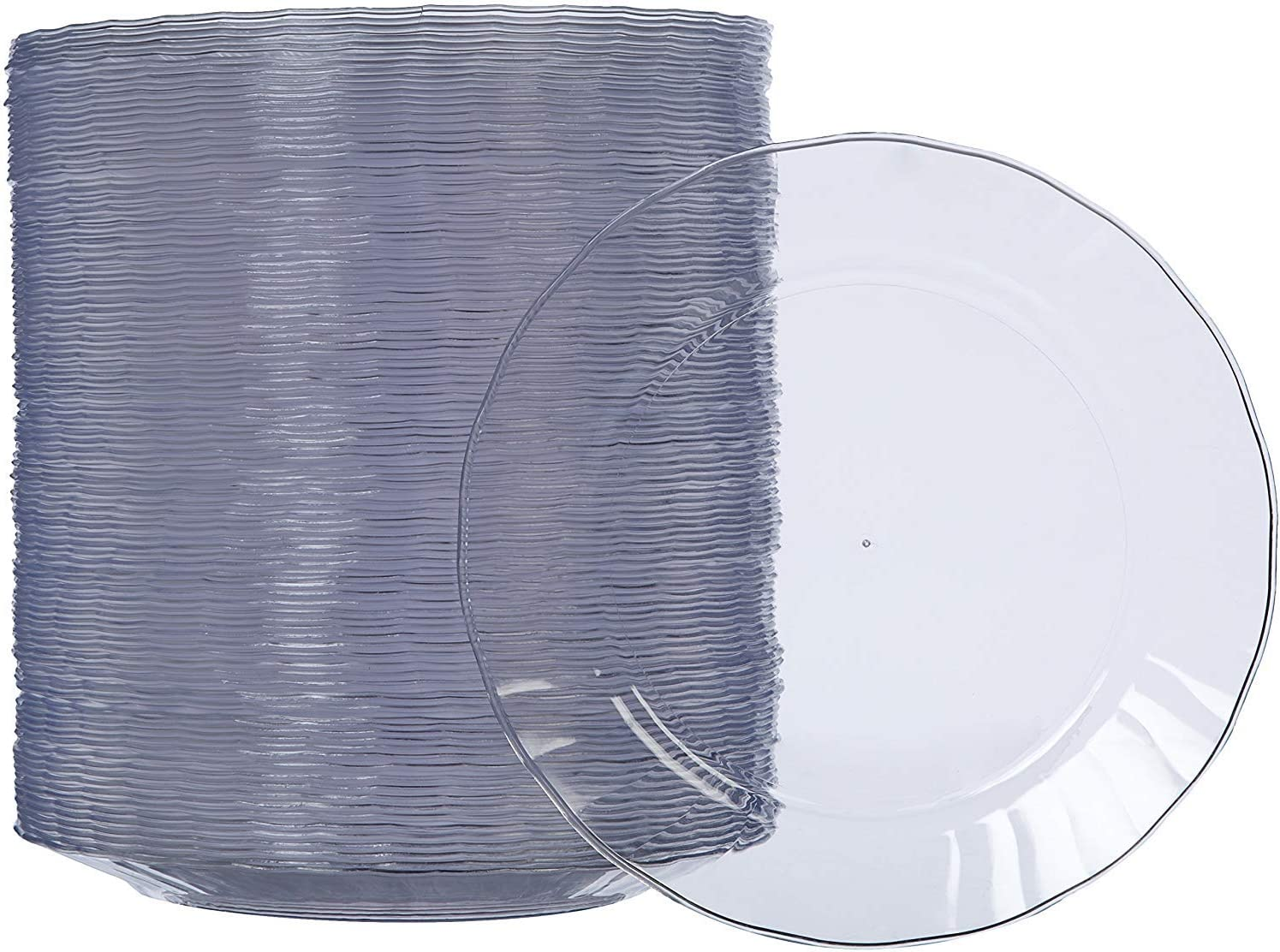 Amazon Basics Disposable Clear Plastic Plates, 100-Pack, 7.5-inch