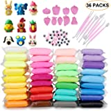 ideallife Modeling Clay Air Dry DIY Ultra Light Molding Clay, 36 Colors Soft Magic Plasticine Craft Toy with Tools, Best Kids Gift for Birthday Holiday