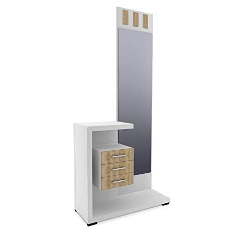 HomeSouth - Recibidor con Espejo y Tres cajones, Mueble de Entrada Acabado en Blanco y Cambria, Modelo Prisma, Medidas: 75 x 85 x 27,9 cm de Fondo