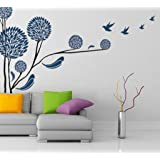 Decals Design 'Tree with Birds' Wall Sticker (PVC Vinyl, 70 cm x 50 cm, Multicolour)