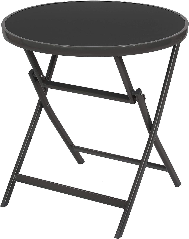 BRUBAKER Mesa Auxiliar O de Comedor Milano - Mesa de Cristal Redonda Plegable como Mesa de Jardín - 70 cm de Diámetro - Aluminio - Resistente A La Intemperie - Antracita