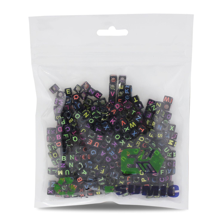 Mezclado 500PCS 6mm Granos de acrílico de la letra de plástico granos del espaciador del alfabeto colorido cubo para las pulseras DIY Collares Cadenas ...