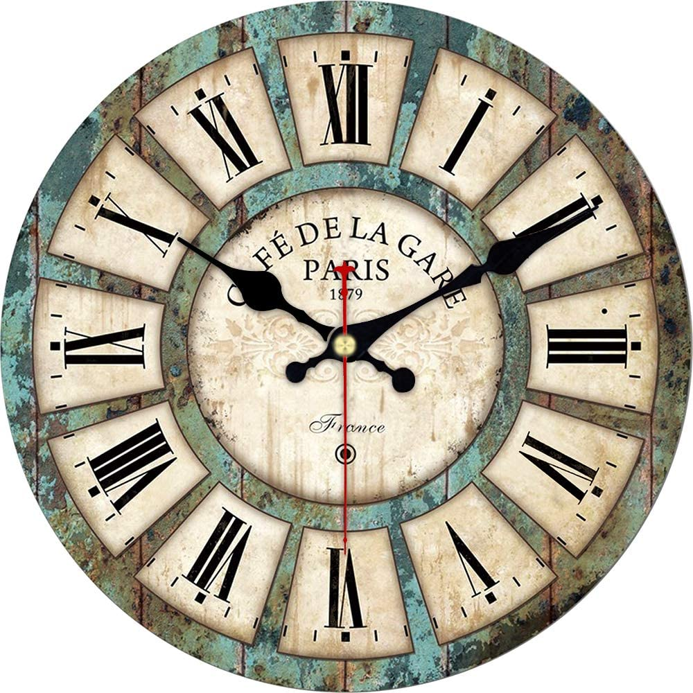 ShuaXin 14 Inch Wooden French Country Style Wall Clocks,Big Roman Numerals Easy to Read Classic Khaki Round Wall Clocks,Cafe and Coffee Bar Wall Clock
