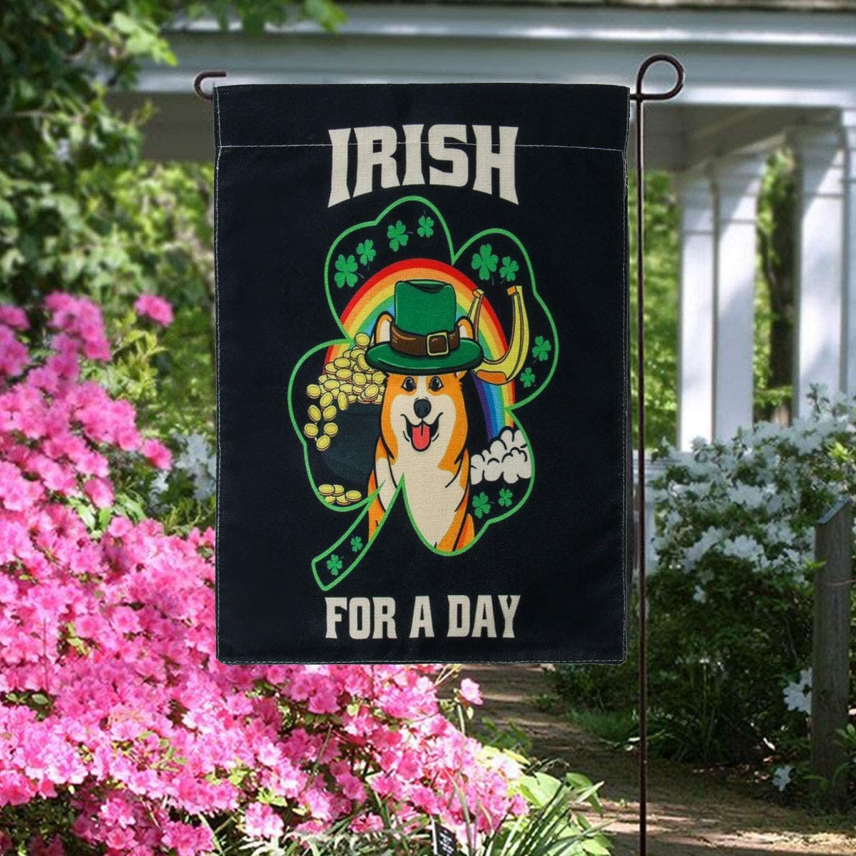 FirstCos Funny Trump St. Patrick's Day Garden Flag Burlap Double Sided 12 x 18 Inch Irish Holiday Green Decorative House Yard Outdoor Flag