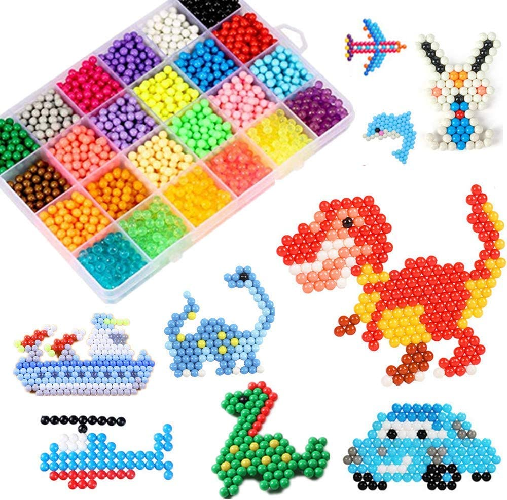 Abalorios Cuentas de Agua 4000 Perlas Kit Abalorios 24 Colors(6 Jewel) Niños DIY Educativos Artesanía Craft Kits (Niño)