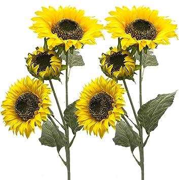 Aisamco 3 Kunstliche Sonnenblumen Gefalschte Blumen Tischdeko Mit 3