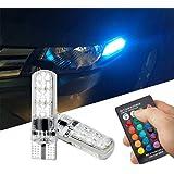 FEZZ Auto LED Ampoules T10 5050 6SMD RGB Silicone Eclairage Intérieur Atmosphère Lumières Ambiance pour voiture Indicateur Lecture Dôme Plaque d'immatriculation Feux d'éclairage avec Contrôleur à distance Strobe