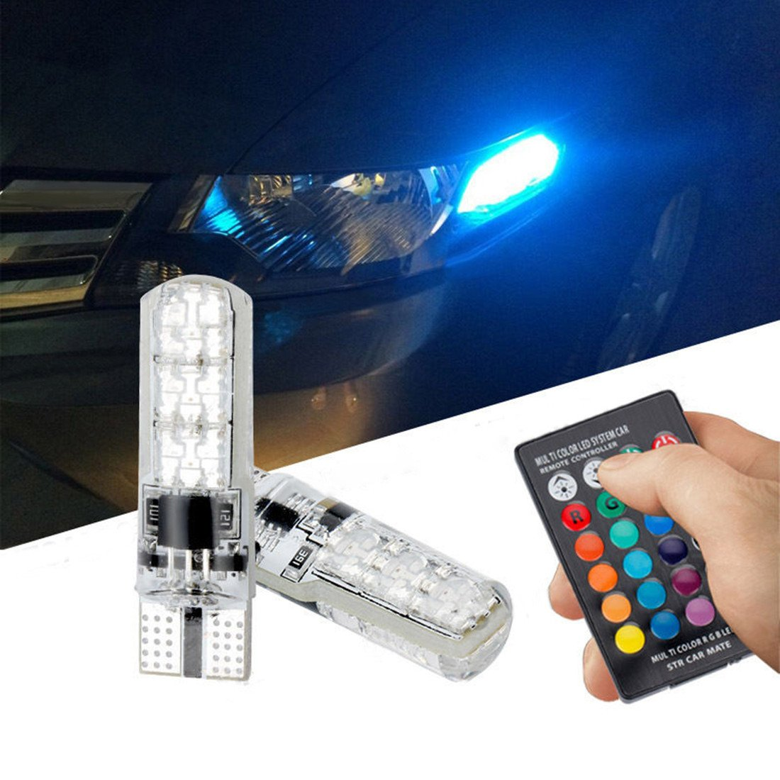 FEZZ Car LED Bulbs Atmosphere Light T10 5050 6SMD RGB Silicone for Auto Side marker Indicator Dome Reading License plate Lights Lamps with Remote Controller Strobe FZ0069