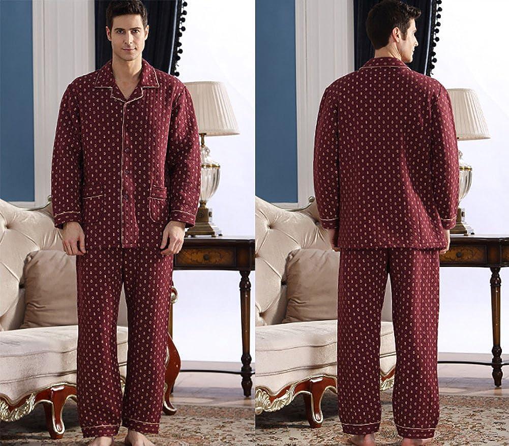 Mens Warm Pure Cotton Long Sleeved Pajamas