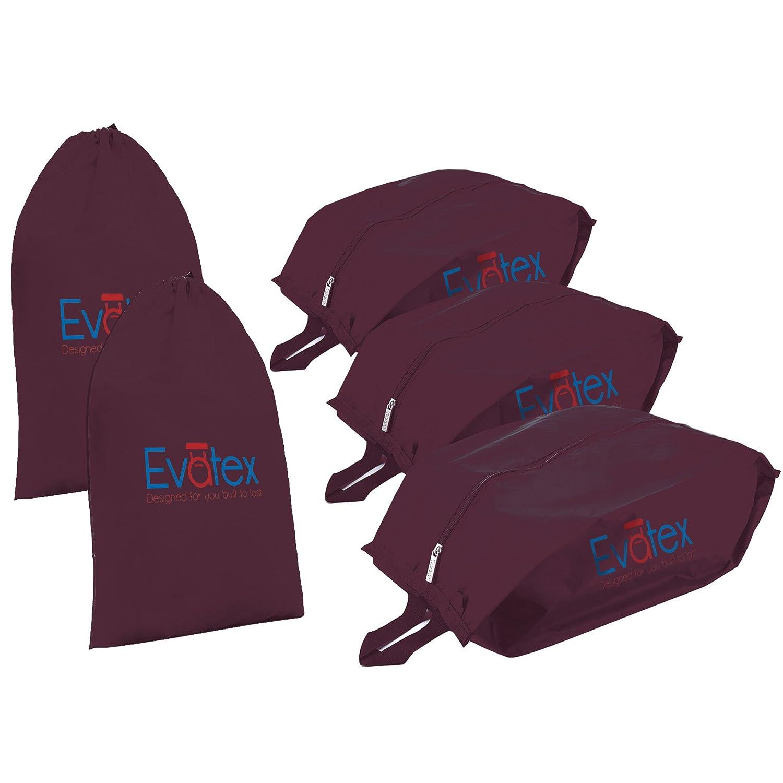 Evatex Packing Cubes Shoe Bag - 5 psc Set Travel Organizer, Waterproof, Cosmetics/Laundry Bag