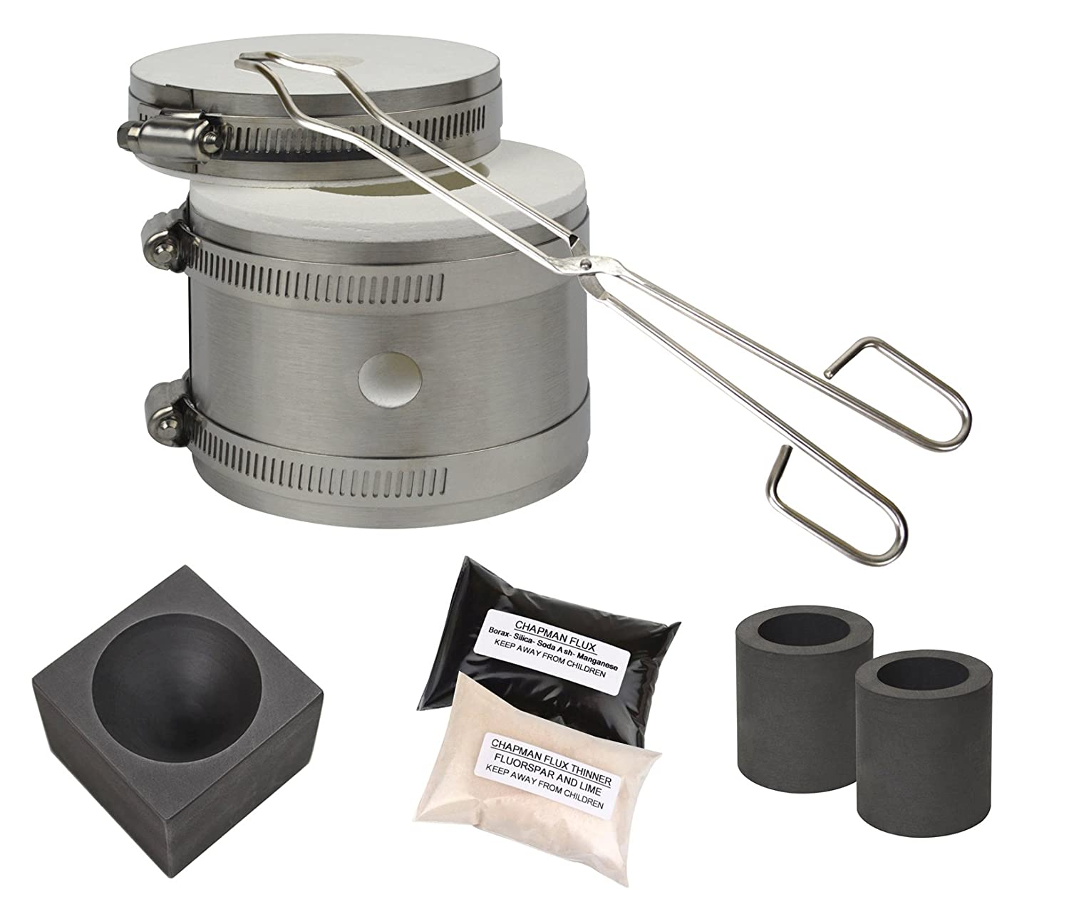 Mini Kwik Kiln Kit w/ Tongs Chapman Flux Flux Thinner Conical Mold & 2 Graphite Crucibles Jewelry Making Gold Silver Melting Casting Gas Furnace Kit PMC Supplies KIT-0126
