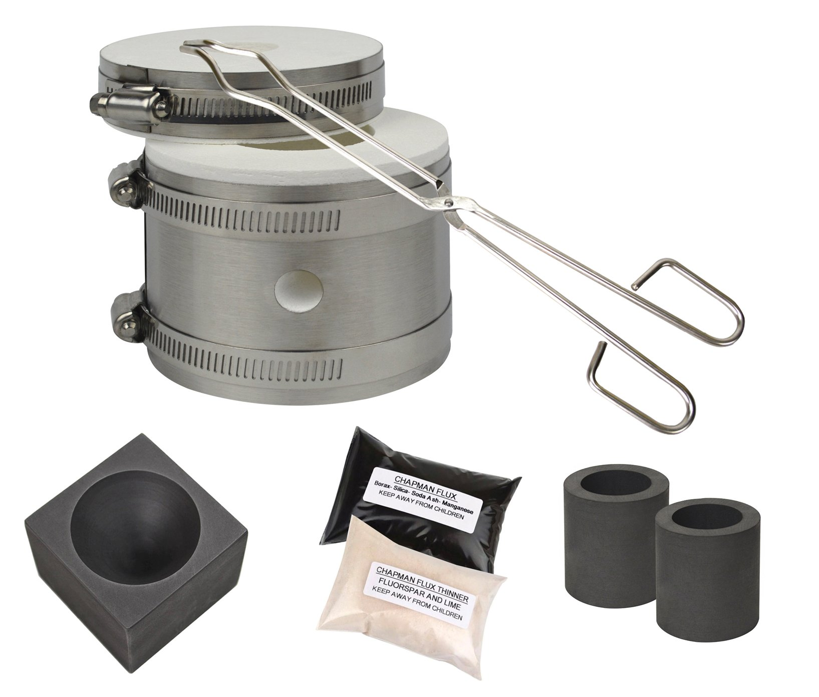 Mini Kwik Kiln Kit w/Tongs Chapman Flux Flux Thinner Conical Mold & 2 Graphite Crucibles Jewelry Making Gold Silver Melting Casting Gas Furnace Kit