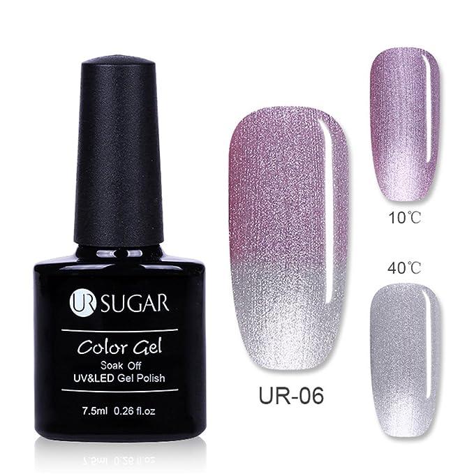 UR SUGAR 7,5 ml esmalte de uñas de gel con purpurina cambio de color térmico, color rosa luminoso de noche, ojos de gato magnéticos 3D, espejo matelico, ...