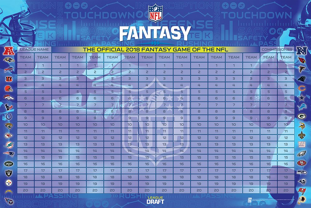 graphic relating to Printable Fantasy Football Draft Board called 2018, 2018, 2018 NFL Myth Soccer Draft Package