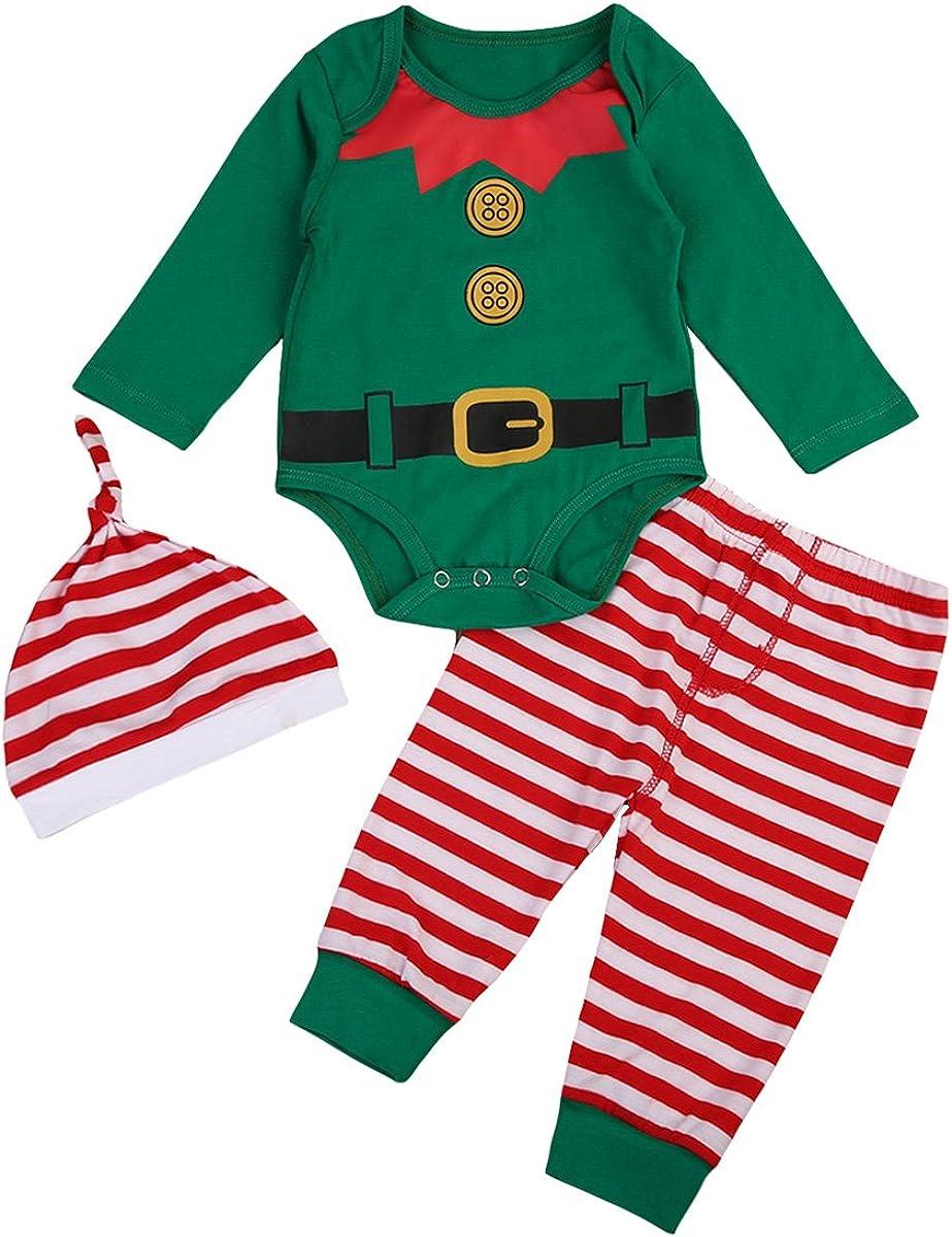 CHRISTYLE Ropa Bebe Ni/ña Navidad Pantalones Rayas Gorro 3pcs Conjunto Disfraces Navidad Invierno Conjunto my First Christmas Monos Tops