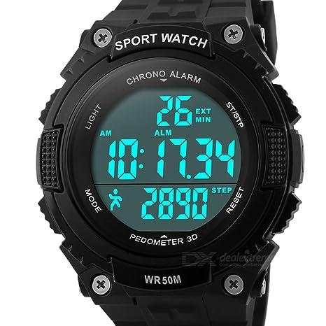 Resistente al agua deportes al aire libre reloj de pulsera con medidor de precisión de paso